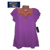 Blusa Top L Grande Stretch Morada Bordada Hermosa Macys Amer