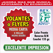1000 Volantes Publicitarios Media Carta Flyers Todo Color