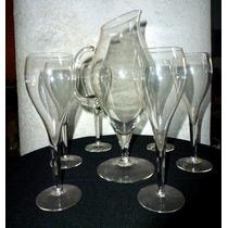 Jarra De Cristal Con 6 Copas Para Agua