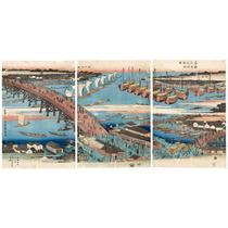 Lienzo Tela Escuela Utagawa Paisaje Bahía Puerto Japón 44x90