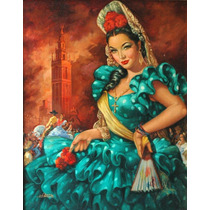 Angel Martin Pintura Oleo Sarita Montiel Arte De Calendario