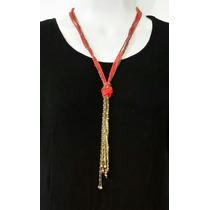 Collar Largo Dorado Con Naranja, Padrisimo Para Dia Y Noche