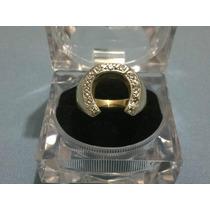 Anillo Para Caballero Herradura Oro 14k Con Diamantes Hm4
