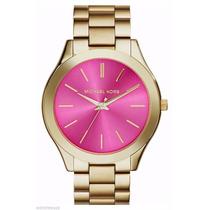 Michael Kors Reloj Mujer Dorado Mk3264 Slim Runway Pink