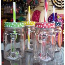 Tarro Mason Jar Frasco Con Asa Vidrio Liso 450ml Tapa/popote