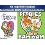 Kit Imprimible Pebles Y Bam Bam Fiesta Cumplea�os Torta Bebe