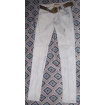 Pantalón Bershka Para Mujer Talla 28 Blanco Y Azul Cielo