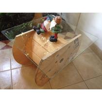 Mesa Carrete De Madera Con Cristal, Diseño Original Y Unico