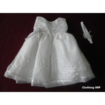 Nuevo Vestido Blanco Bautizo Organza Flores 9-12 M Ropon