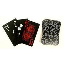 Negro Cara 100% Plástico Poker Naipes