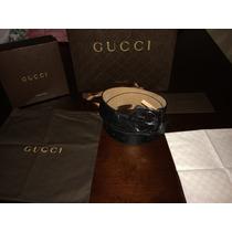 Cinturon Gucci Negro Guccissima Talla 90 Cm Original