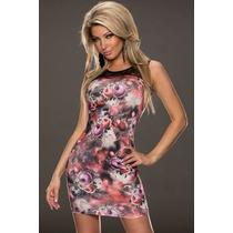 Moda Sexy Mini Vestido Flores Transparencias Antro Fiesta