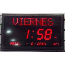 Reloj Led Digital De Pared Día Gigante Rojo Fecha Hora Temp