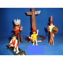 Playmobil Vintage Set Indios Con Totem,caballos Y Canoa