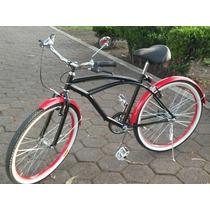 Bicicleta Retro Negra Rin Rojo. Dama Y Caballero