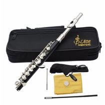 Flauta Piccolo Flautin Lade Negro Estuche Orificio Cerrado