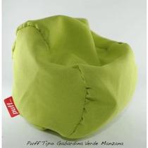 Sillón Puff Grande Tela Tipo Gabardina Verde Manzana