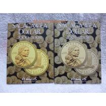 2 Albunes Harris Folder Sacagawea Dollar 2000 Al 2008 Usa