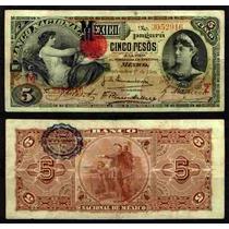 Bk-df-162 Billete Del Banco Nacional De Mexico De 5 Pesos
