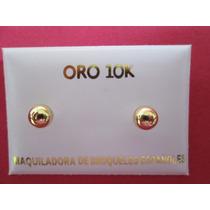 Broqueles Bola Oro Solido 10 Kilates. Dormilon