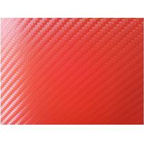 Vinil Rojo Imitacion Fibra De Carbono Plata 1.52m X 1m