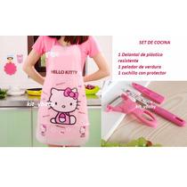 Hello Kitty, Set De Cocina: Delantal, Pelador Y Cuchillo