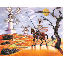 Lienzo Tela Don Quijote Y Sancho, 70 X 90 Cm