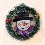 Corona Navideña Snowman Con Escarcha En Madera Country