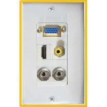 5 Placas De Pared Con Conectores Vga Hdmi Rca Y 2 De 3.5mm