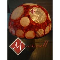 Preciosa Lampara Diseño Hongo En Onix Natural Y Pintado 26cm
