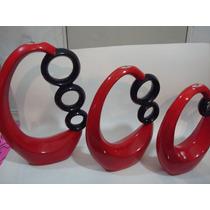 Juego De Velas Artesania En Color Rojo Con Aros Negros