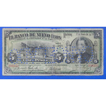 Billete $ 5.00 Banco De Nuevo Leon 1911 Excelente