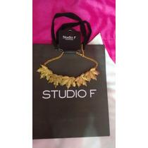 Collar Precioso Dorado De Hojas Estilo Griego Marca Studio F