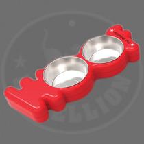 Tazón Para El Perro Set - Pet Rebellion Rojo Plástico Teji