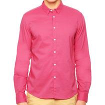 Camisa Rosa Manga Larga Dkny Nueva Mediana 100% Algodón