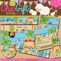 Kit Imprimible Hawaiiano Hawaii Fiesta Playa Textos Editable