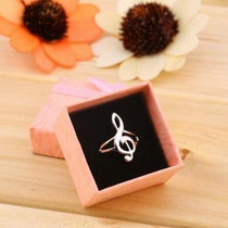 Anillo Nota Musical Clave De Sol Talla 8 Diametro Int 19 Mm