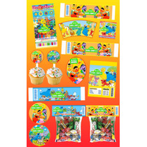 Kit Imprimible Plaza Sesamo Personalizado 30 Etiquetas