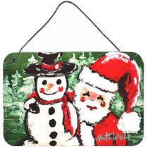 Amigos Muñeco De Nieve Y Santa Claus En La Pared O Puerta C