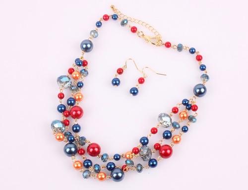 cc37091c532a Set Collar Y Aretes De Perla Y Cristal Moda Bisuteria Fina (Perlas ...