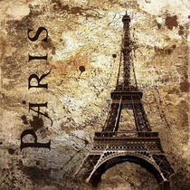 Lienzo Tela Torre Eiffel, Vintage 100 X 100 Cm