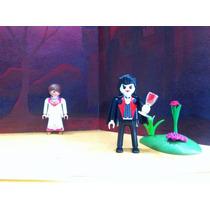 Playmobil Dracula Con Novia Victima Halloween Castillo Js