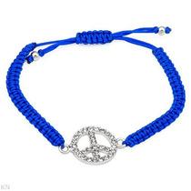 Brazalete De Seda Azul Con Cristales Para Dama