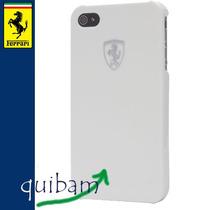 Carcasa Protector Fund Iphone 4g Ferrari Modelo Metal Blanca