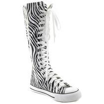 Botas Largas Con Cierre P/ Dama. Zebra Con Agujetas Blancas