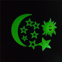 Paquete De 9 Piezas Fosforescentes Luna Sol Y Estrellas