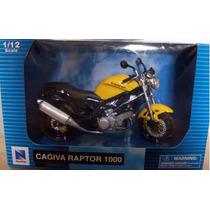 Moto Cagiva Raptor Escala 1:12 New Ray, Amarilla Y Negro Vbf