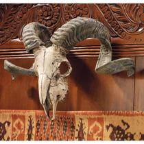 Craneo Design Toscano Corsican Ram Skull And Horns Wall Trop