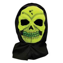 Cráneo Traje - Máscara Adulto Neón Con Amarillo Capilla D