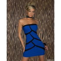 Sexy Mini Vestido Strapless Azul Negro Moda Fiesta